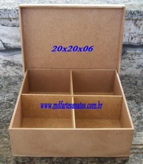 Caixa mdf cru 20x20x06 - 3mm com divisória