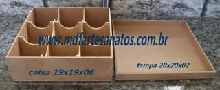 Caixa mdf cru 20x20x06 - 3mm com divisória abaulada