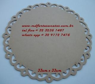Sousplat provençal redondo 33x33cms modelo 01 mdf cru - 3mm