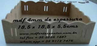 Bandeja quadrada passa fita 18,5 x 18,5 x 5,5  - mdf 4mm