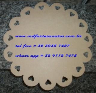 Sousplat provençal redondo 33x33cms modelo 03 mdf cru - 3mm