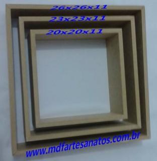 Nicho quadrado mdf cru - Trio - 9mm - 26x26x11