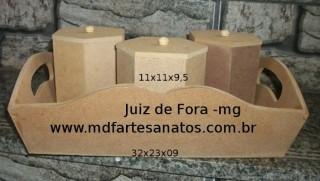 Cesta mdf cru com potinhos sextavados - Júlia - 6mm