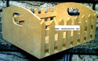 Cesta mdf cru com cerquinhas - Silvinha - 6mm