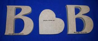 Iniciais B e B 12x11 mdf15mm e coração 10x10 mdf15mm