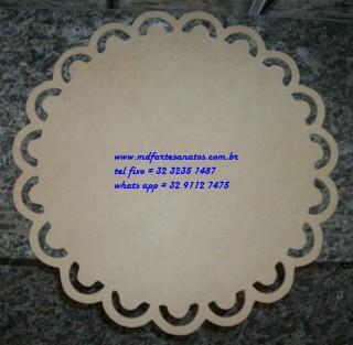 Sousplat provençal redondo 33x33cms modelo 02 mdf cru - 3mm