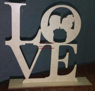 Love de mesa com casal mdf cru