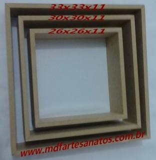 Nicho quadrado mdf cru - Trio - 9mm - 30x30x15
