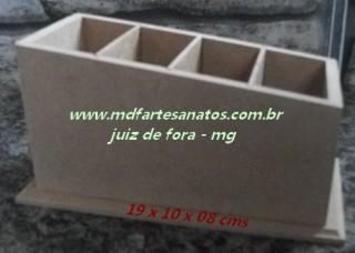 Porta Controle Remoto mdf cru com 4 baias diagonal - 6mm