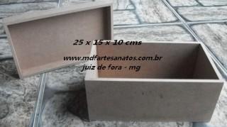 Caixa retangular mdf cru 25x15x10 - 6mm