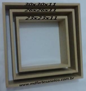 Nicho quadrado mdf cru - Trio - 9mm - 30x30x11